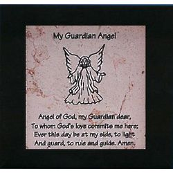 My Guardian Angel Black Framed Jerusalem Stone Plaque