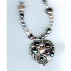 Pearl Mosaic Heart Necklace