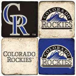 Colorado Rockies Tumbled Italian Marble Coaster Set