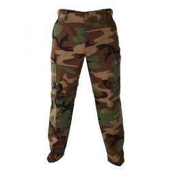Woodland Camo Button Fly Trousers
