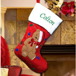 Embroidered Teddy Bear Stocking