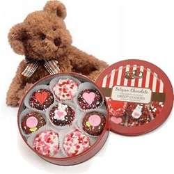 Tin of Chocolate Valentine Oreos and Lil' Russ Bear