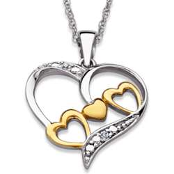 Sterling Silver Two-Tone Diamond Accent Mom Heart Necklace