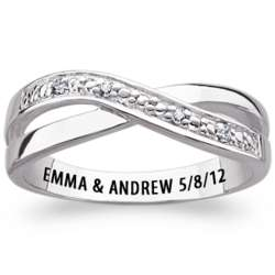 Sterling Silver Couple's Diamond Swirl Engraved Promise Ring