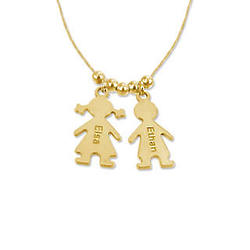 Gold Plated Mother's Necklace with Children