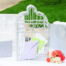 Elegant Scrolled Heart Birdcage Wedding Card Holder