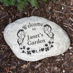 Butterfly Engraved Welcome Garden Stone