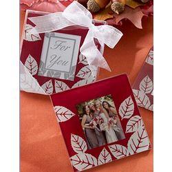 Fall Leaves Glass Photo Coasters
