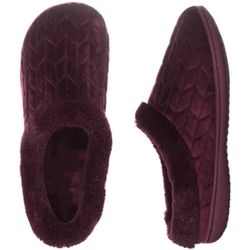 Quilted Velour Clog Slippers