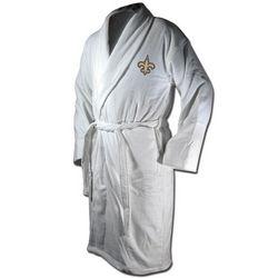 New Orleans Saints White Terrycloth Bathrobe