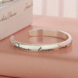 Jesus Loves Me Baby's Stamped Cuff Bracelet