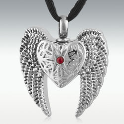 Angel Heart and Wings Stainless Steel Cremation Pendant