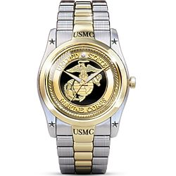 USMC Men's Stainless Steel Dress Watch with Diamond Accent