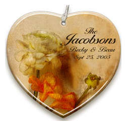 Personalized Soft Rose Porcelain Ornament