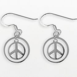 Sterling Silver Peace Sign Circle Earrings