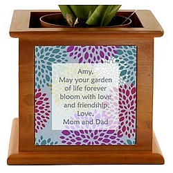 Beautiful Blooms Personalized Wooden Planter