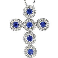 14K White Gold Blue Sapphire & Diamond Cross Pendant