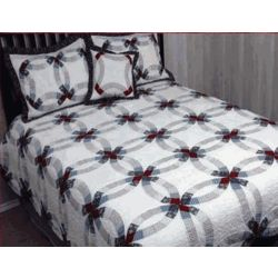 King Size Valley Forge Double Wedding Ring Quilt