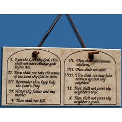Ten Commandments Jerusalem Stone Plaque with Leather Hanger