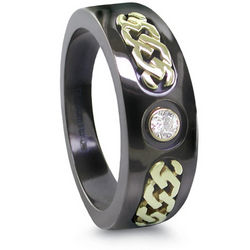 Black Titanium Diamond Ring with 14K Gold Accents
