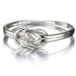 14k Gold Single Diamond Knot Promise Ring