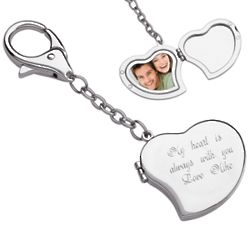 Large Heart Photo Locket Engraved Key Chain