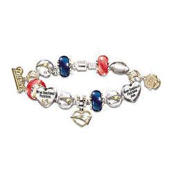 Go Patriots Number One Fan Charm Bracelet