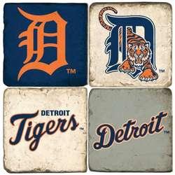 Detroit Tigers Tumbled Italian Marble Coaster Set