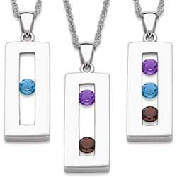 Sterling Silver Personalized Birthstone Bar Necklace