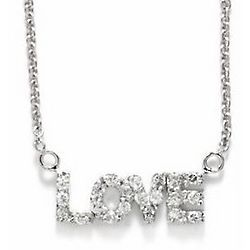 Sterling Silver Cubic Zirconia Love Pendant Necklace
