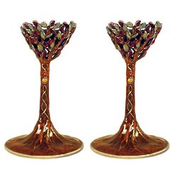 Tree of Life Shabbat Candlesticks