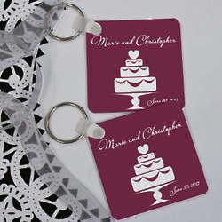 Wedding Cake Personalized Wedding Favor Key Chain