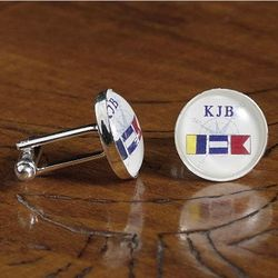 Nautical Flag Personalized Cufflinks