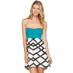 Teal and White Juniors Strapless Dress