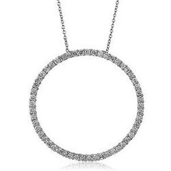 Sterling Silver Cubic Zirconia Circle Pendant