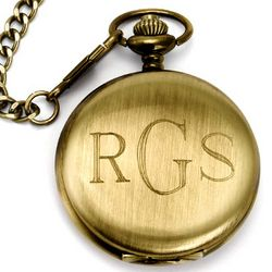 Treasured Times Engraved Gold Steel Pocket Watch