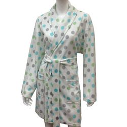 Pastel Dot Printed Women's Soft Minky Bathrobe