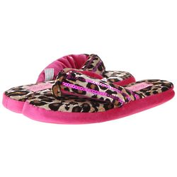 Women's Animal Print Sequin Flip Flop Slippers