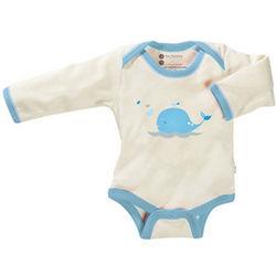 Whale Print Organic Long Sleeve Bodysuit