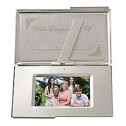 Business Card Holder with Encased Photo Frame