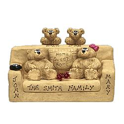 Personalized Father, Mother, Kids Bears in Chairs