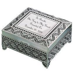 Silver Victorian Sentimental Key To My Heart Keepsake Box
