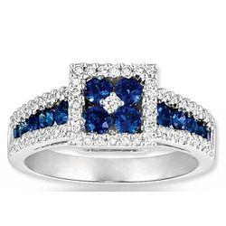 14k White Gold Diamond & Blue Sapphire Ring