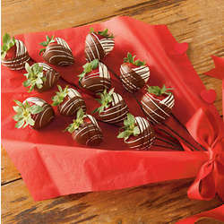 Long Stemmed Chocolate Dipped Strawberry Roses