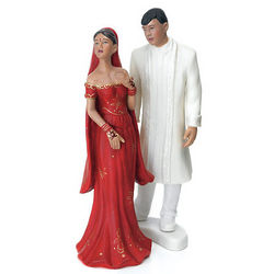 Indian Bride and Groom Porcelain Cake Topper