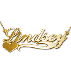 Side Heart 14 Karat Gold Name Necklace