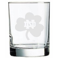 Notre Dame Fighting Irish Etched Old Fashion Glass