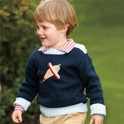Boy's Intarsia Airplane Sweater