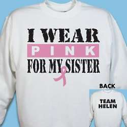 Personalized I Wear Pink Breast Cancer Sweatshirt