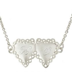 Engraved Sterling Silver Joined Hearts Necklace